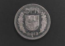 Schweizare 5 FR silvermynt royaltyfria foton
