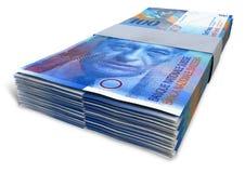 Schweizare Franc Notes Bundles Royaltyfria Bilder