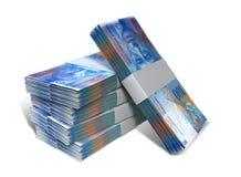 Schweizare Franc Notes Bundles Stack royaltyfri foto