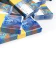 Schweizare Franc Notes Scattered Pile Arkivbilder