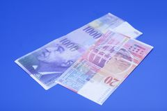 Schweizare 1000 och 20 franc anmärkningar Royaltyfri Fotografi