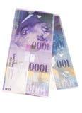 Schweizare 1000 och 100 francanmärkningar Arkivfoton