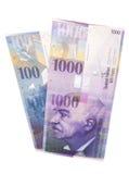 Schweizare 1000 och 100 francanmärkningar Royaltyfri Fotografi