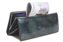Schweizare tusen franc i plånboken som isoleras på vit Royaltyfria Bilder