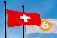 Schweizareflagga och Bitcoin flagga Royaltyfri Foto