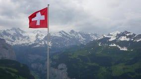 Schweizareflagga som fladdrar i fjällängarna arkivfilmer
