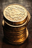 SchweizareVreneli guld- mynt Arkivbilder
