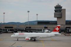 Schweizer Airbus bei Zürich Lizenzfreies Stockfoto