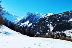 Schweizer Alpen und Hügel unter Schnee stockfotos