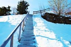 Schweizer Alpen und romantische hölzerne Treppe Lizenzfreie Stockbilder