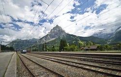 Schweizer Bahnstation Stockfotografie