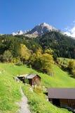 Schweizer Chalet in den Alpen Lizenzfreies Stockfoto