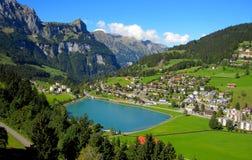 Schweizer Dorf auf Abhang Stockbilder