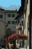 Schweizer Dorf-Straße mit Pelargonien Stockfotografie