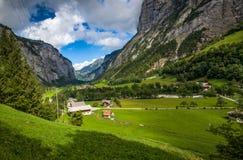 Schweizer Dorf von Stechelberg Lizenzfreie Stockfotos
