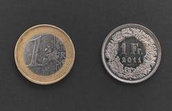 Schweizer ein Franc Coin und 1 Euromünze Lizenzfreie Stockfotos