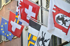 Schweizer Flaggen Lizenzfreies Stockbild