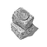 Schweizer Franc auf Felsen stockfotos