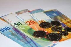 Schweizer Franc des Geldes Stockfotos
