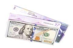 Schweizer Franke, amerikanische Dollar und Euro Stockbilder