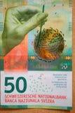 Schweizer frankiert Banknote - Freivermerkrechnung des Neuen 50 lizenzfreie stockfotos