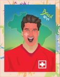 Schweizer Fußballfanschreien Stockbild