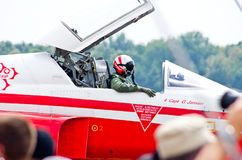 Schweizer Gruppe Patrouille Suisse auf Radom-Flugschau Lizenzfreies Stockfoto