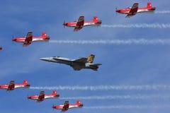 Schweizer Luftwaffe F18 HORNISSE Demo Team stockbild