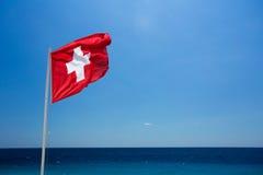 Schweizer Markierungsfahne Stockfotografie