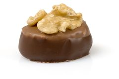 Schweizer Schokolade mit Walnuss Stockfoto