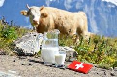 Schweizer Schokolade und Krug Milch Lizenzfreies Stockbild