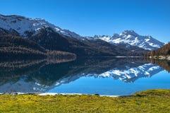 Schweizer See Silvaplana Stockbild