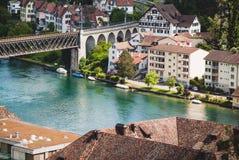 Schweizer Stadt Schaffhausen Fluss Rhein Stockbild