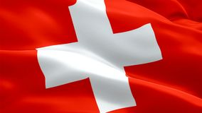 Schweizer volles HD 1920X1080 Gesamtlängenvideo Flagge Nahaufnahme 1080p, das in Wind wellenartig bewegt Nationales Schweizer fah stock abbildung