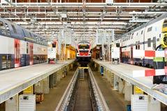 Schweizer Zugverkehrdepot Lizenzfreies Stockfoto