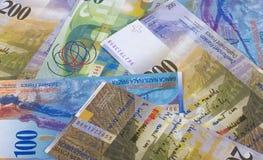 Schweizisk bakgrund eller textur för pengaröppenhjärtigabstrakt begrepp arkivfoto