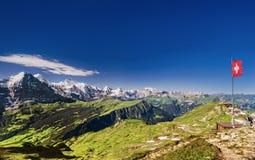 Schweizisk bergpanorama Fotografering för Bildbyråer