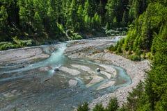 Schweizisk Fjälläng-flod gästgivargård och Pontresina Royaltyfri Fotografi