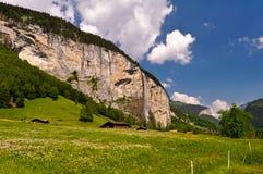 Schweizisk fjällängdal, sceniskt landskap Arkivbilder