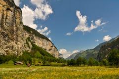 Schweizisk fjällängdal, sceniskt landskap Arkivfoton