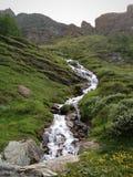 Schweizisk fjällängvattenfall Royaltyfri Fotografi
