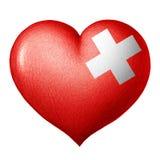 Schweizisk flaggahjärta som isoleras på vit bakgrund white för tree för bakgrundsteckningsblyertspenna royaltyfri illustrationer