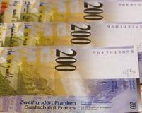Schweizisk franc av olik abstrakt pengarbakgrund Royaltyfria Foton