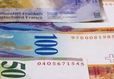 Schweizisk franc av olik abstrakt pengarbakgrund Royaltyfri Foto