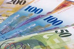 Schweizisk franc av olik abstrakt pengarbakgrund Arkivbilder
