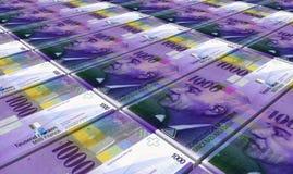 Schweizisk franc fakturerar buntbakgrund royaltyfria foton