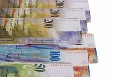 Schweizisk franc fakturerar isolerat på vit bakgrund Royaltyfri Bild
