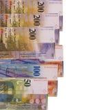 Schweizisk franc fakturerar isolerat på vit bakgrund Fotografering för Bildbyråer