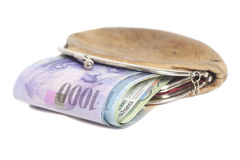 Schweizisk franc i plånbok royaltyfri bild