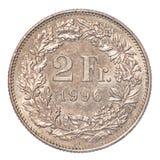 2 schweizisk franc mynt royaltyfri foto